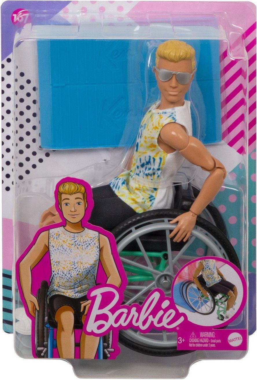 Barbie Fashionistas - Lalka Ken 167 na wózku inwalidzkim GWX93