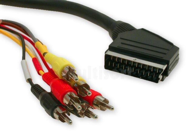 Kabel AV 1,5m wtyk Euro 21p - 6x wtyk Cinch