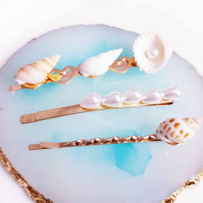 Wsuwki złote do włosów zestaw 3 szt perły muszle BS001733