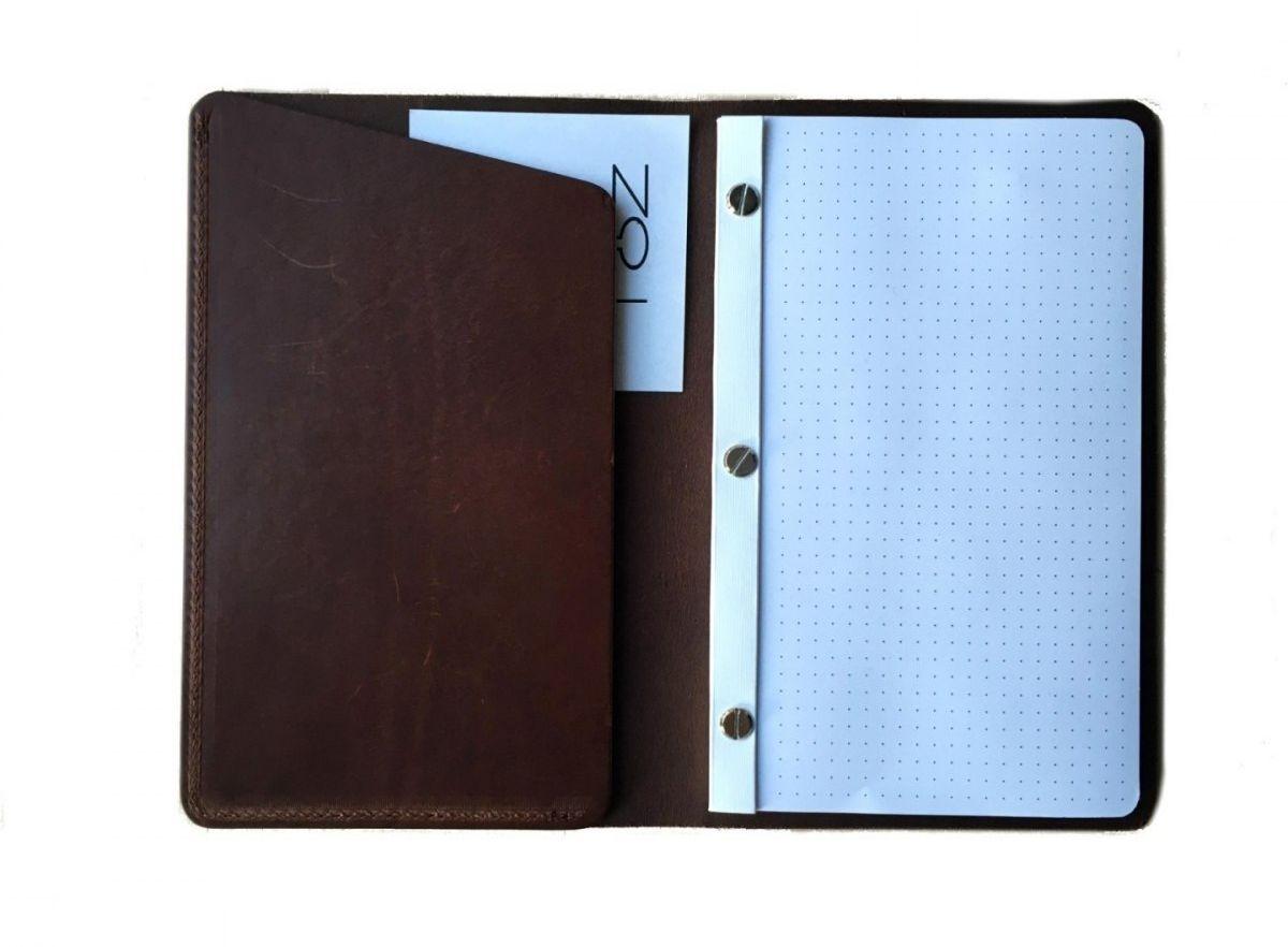 Notatnik Z Kieszonką W Skórzanej Oprawie Brązowy Wymienne Wkłady Skóra Licowa Vintage Solidny Notes