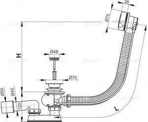 Syfon automatyczny do wanny chromowany A51CR