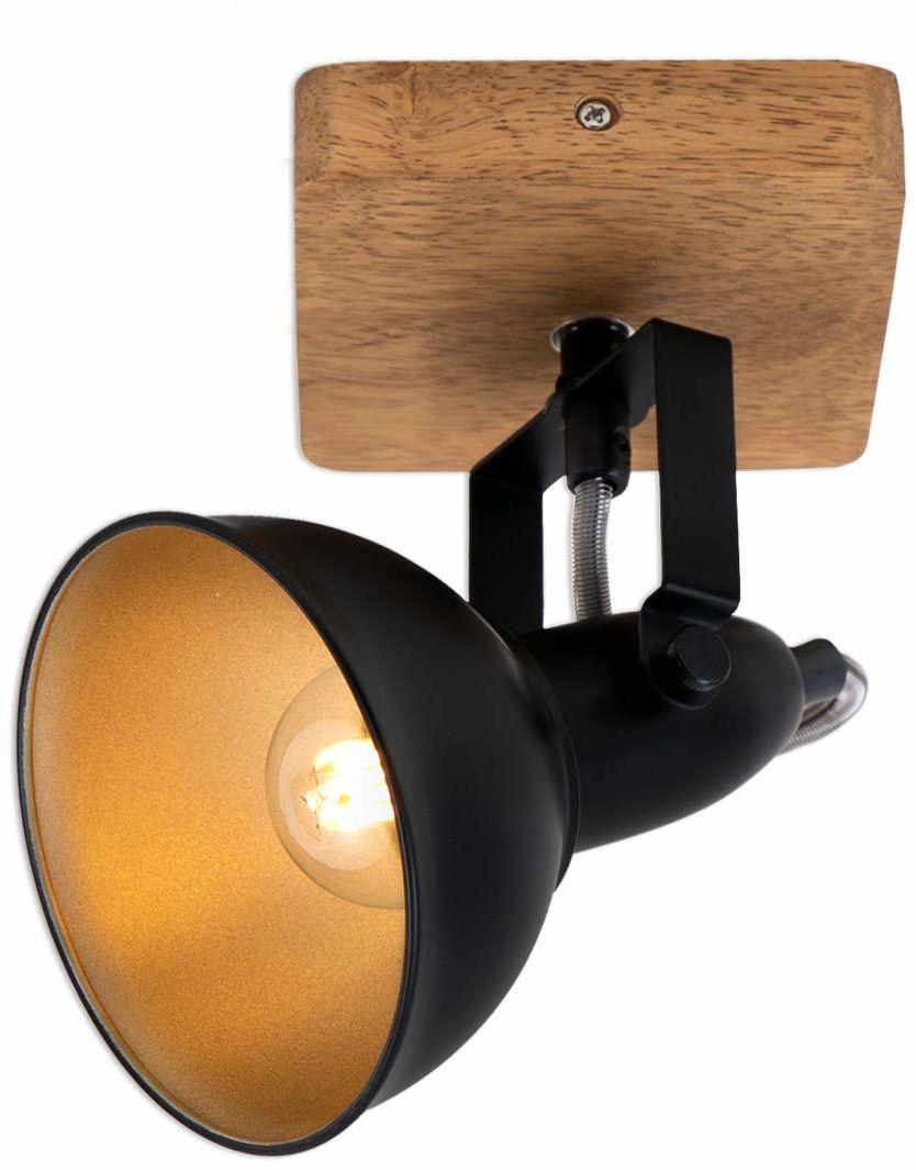 Briloner Leuchten - Lampa punktowa, lampa ścienna, lampa ścienna retro, vintage, punktowa obrotowa i wychylna, 1 x E14, drewno metalowe, czarno-złoty, 110 x 110 x 157 mm (dł. x szer. x wys.), 2901-015