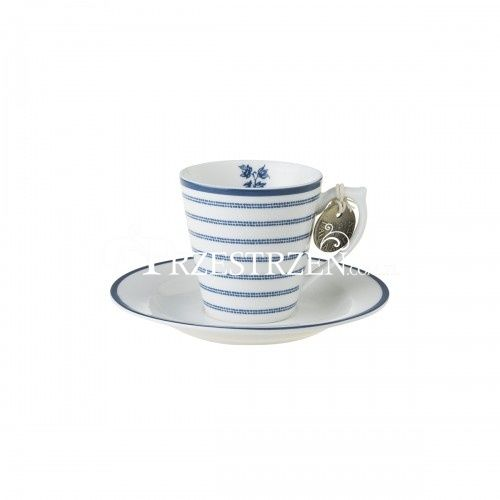 PORCELANOWA FILIŻANKA ESPRESSO ZE SPODKIEM Laura Ashley BLUEPRINTS Candy Stripe
