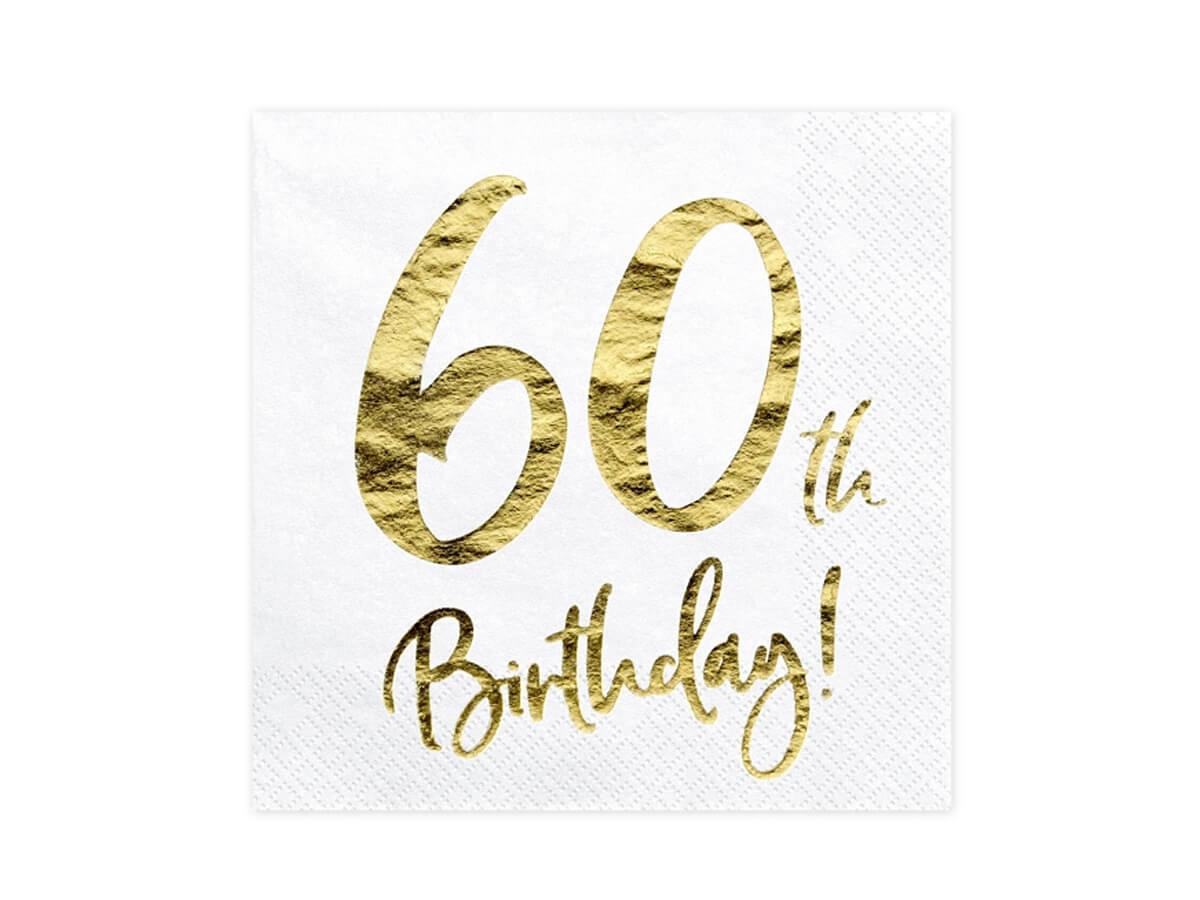 Serwetki na sześćdziesiąte urodziny - 33cm - 20 szt.