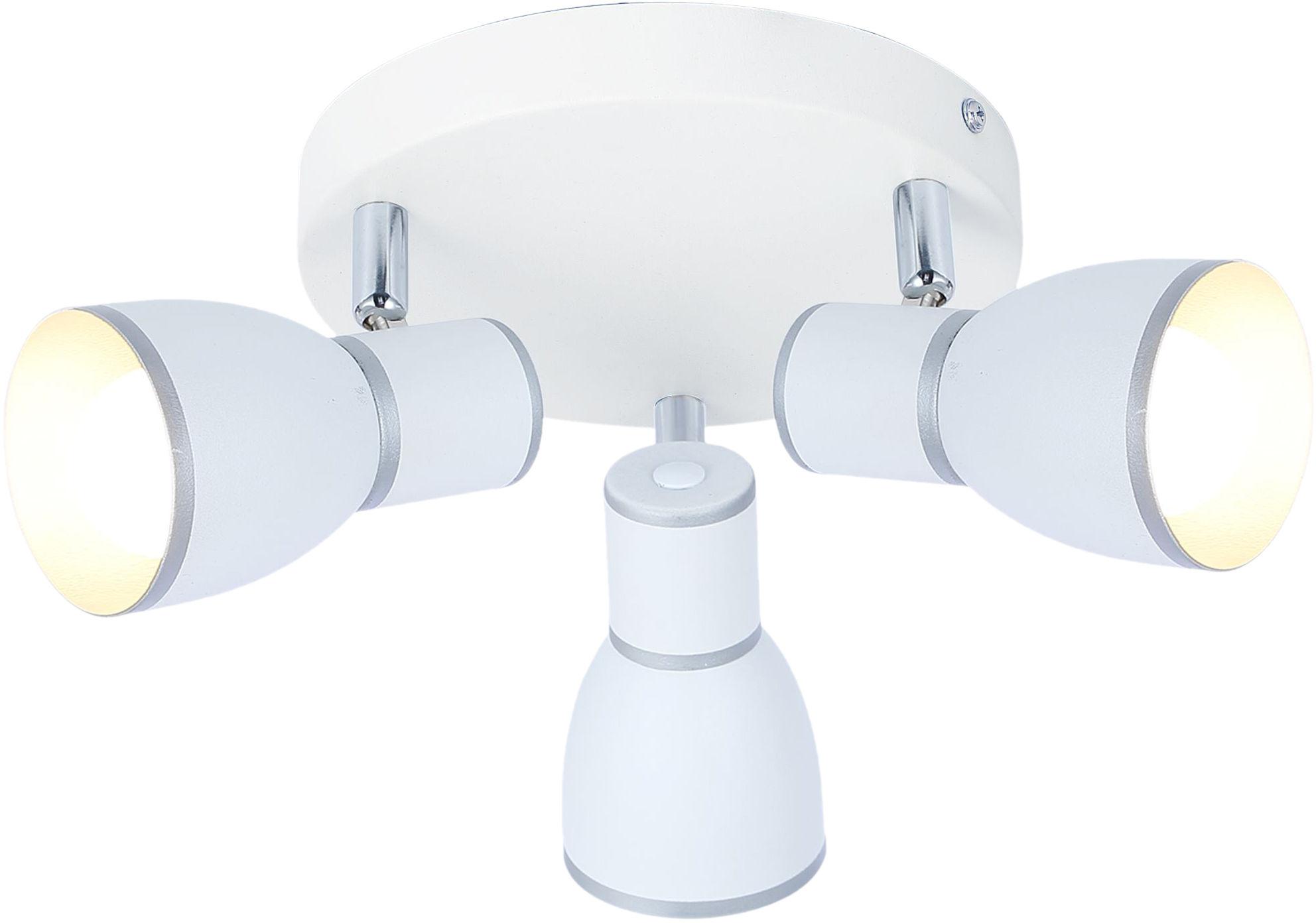 Candellux FIDO 98-63397 plafon lampa sufitowa biała metalowy klosz biały+chrom 3X40W E14 34cm