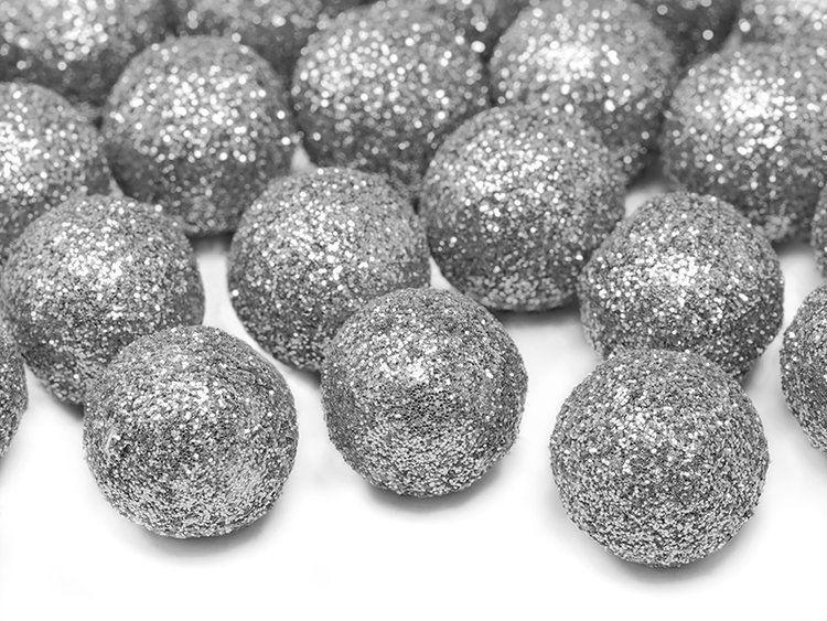 Kule brokatowe srebrne 2cm 25 sztuk DK2-018