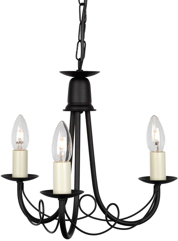 Żyrandol Minster MN3 BLK Elstead Lighting potrójna oprawa w kolorze czarnym