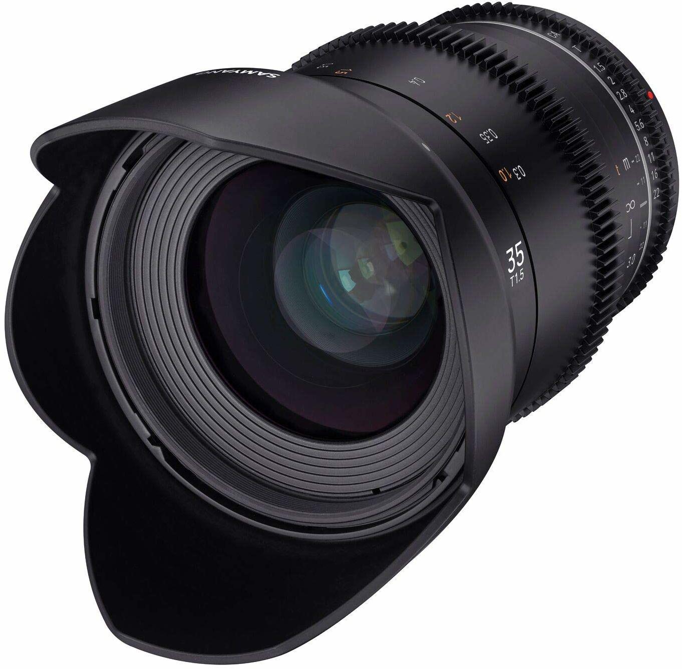 Samyang MF 35 mm T1,5 VDSLR MK2 MFT  szerokokątny obiektyw T1,5 o dużej ostrości, ogniskowa 35 mm, wieńce zębate, APS-C i MFT, rozdzielczość 8 K
