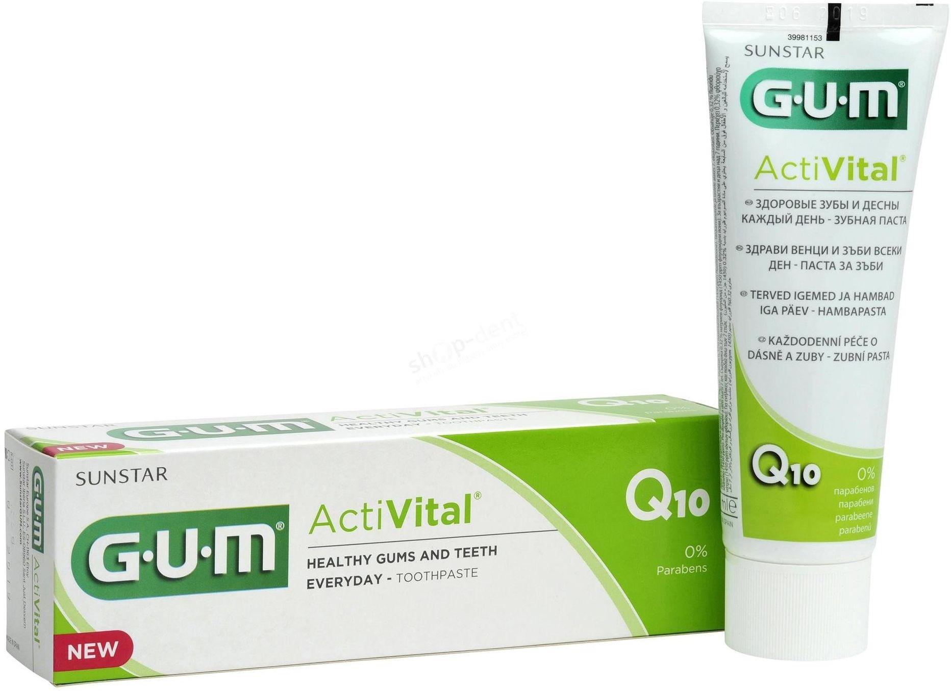 GUM Butler 6050 ActiVital - pasta wspierająca zdrowie dziąseł z koenzymem Q10 i wyciągiem z granatu (75 ml)