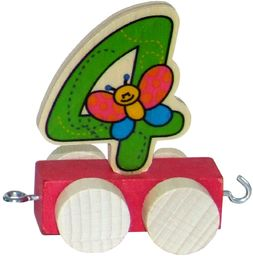 Hess drewniana zabawka 00444 - Waggon do pociągu urodzinowego, ok. 5 cm, cyfra 4