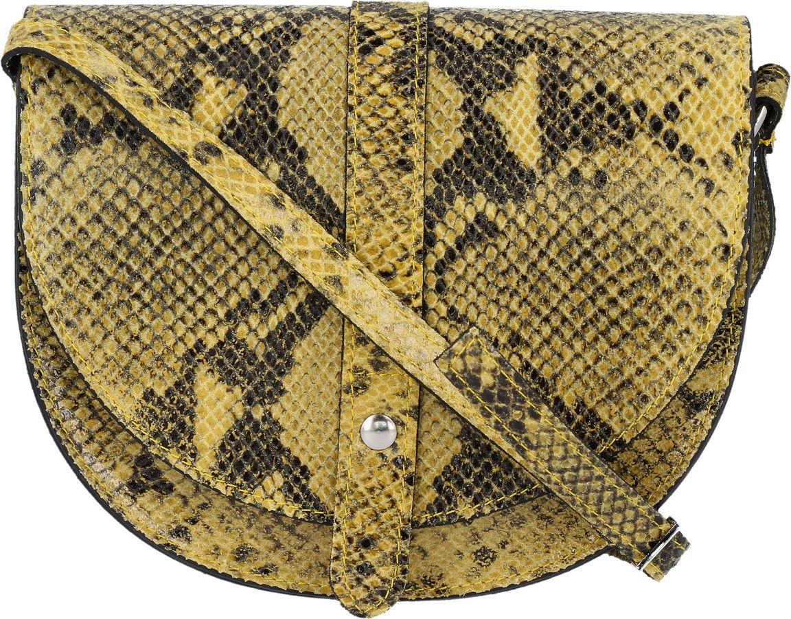 Włoskie Torebki Skórzane Listonoszki w motyw węża firmy Vittoria Gotti Musztarda (kolory)