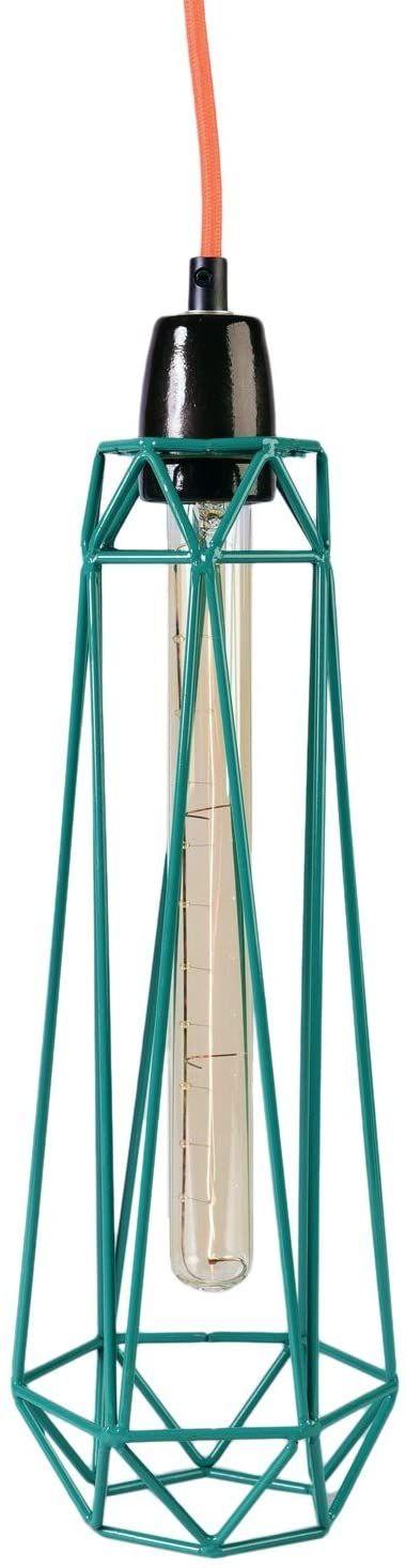 Filament Style 7-P Diamond #2 francuska lampa wisząca retro Loft E27, metalowa kratka w kolorze turkusowym, kabel tekstylny w kolorze pomarańczowym