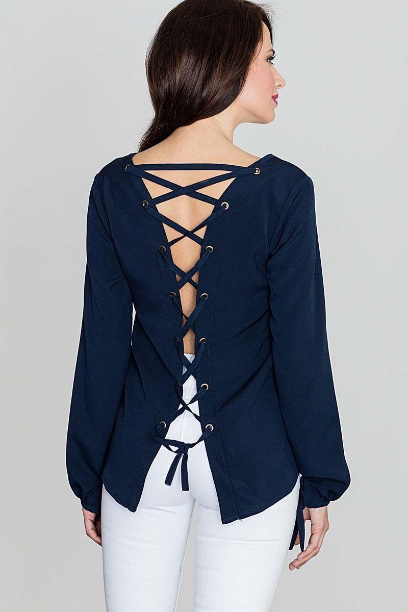 Modna granatowa bluzka z dekoltem v  sznurowana na plecach