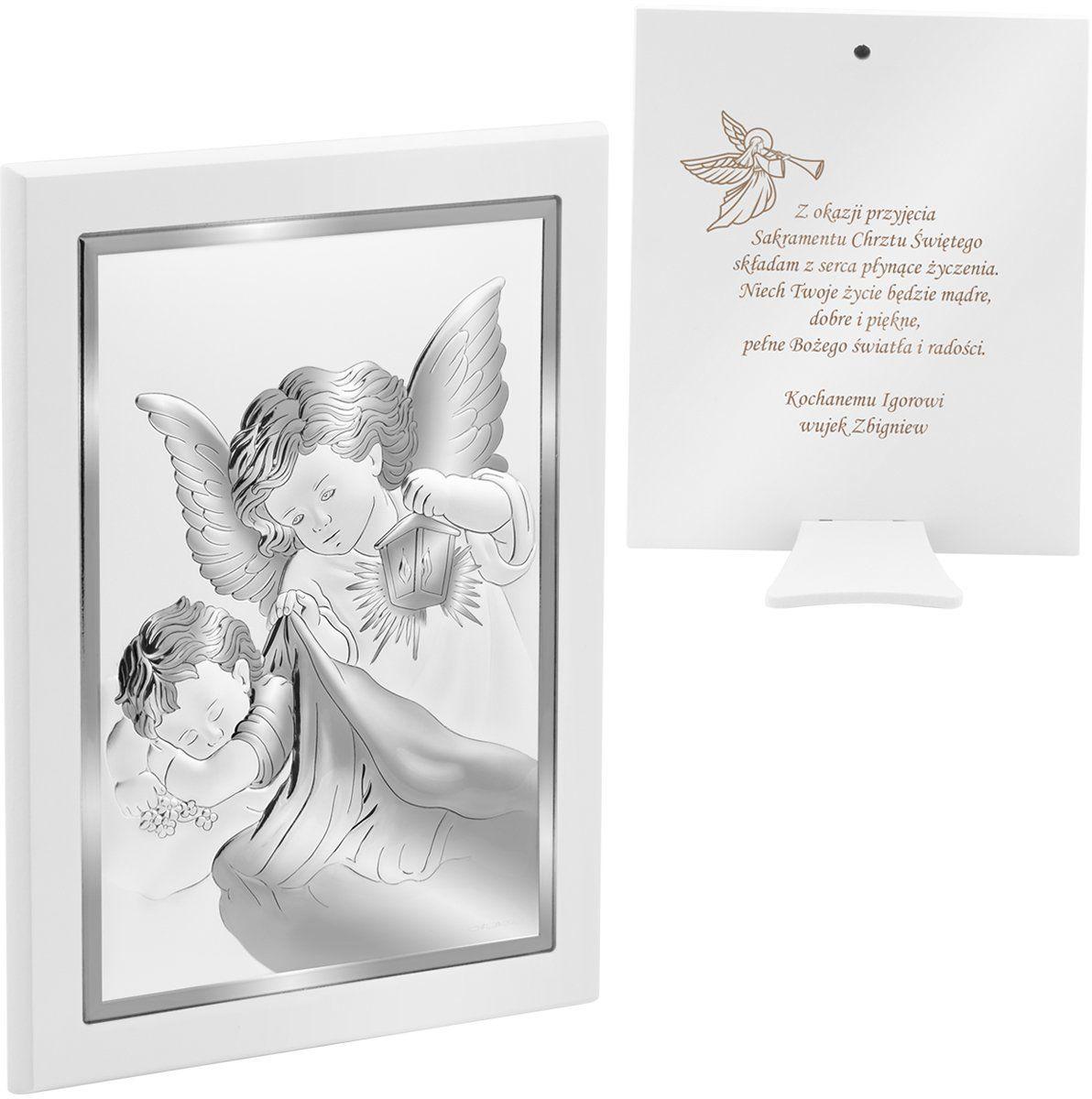 Srebrny obrazek na chrzest z Aniołem Stróżem 16x21 cm Pamiątka z Grawerem