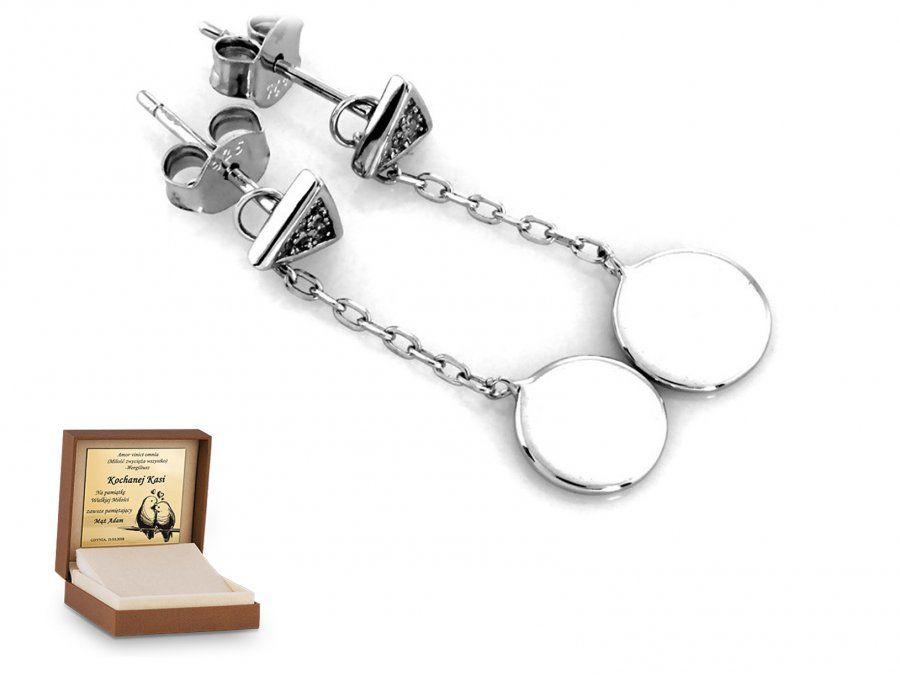 Srebrne kolczyki 925 wiszące prezent grawer