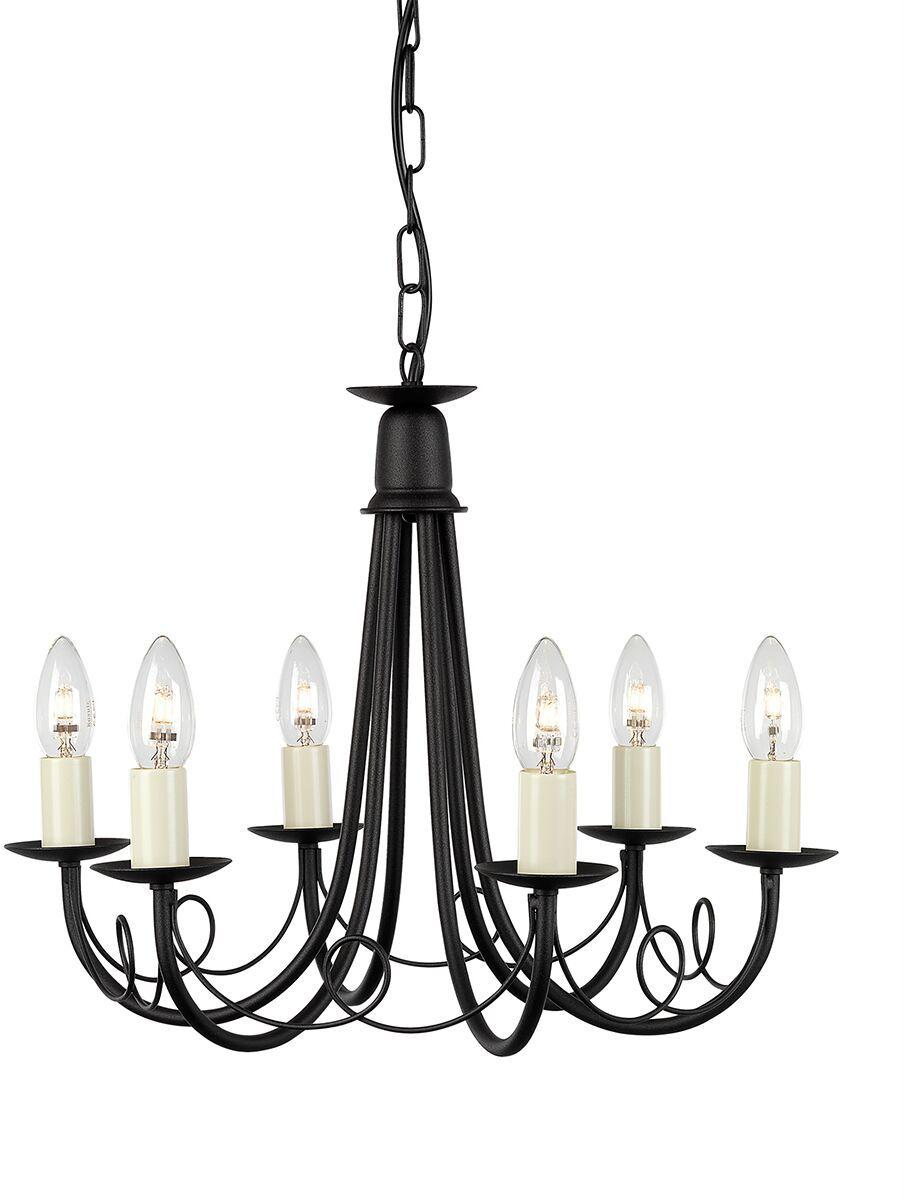 Żyrandol Minster MN6 BLK Elstead Lighting dekoracyjna oprawa w kolorze czarnym