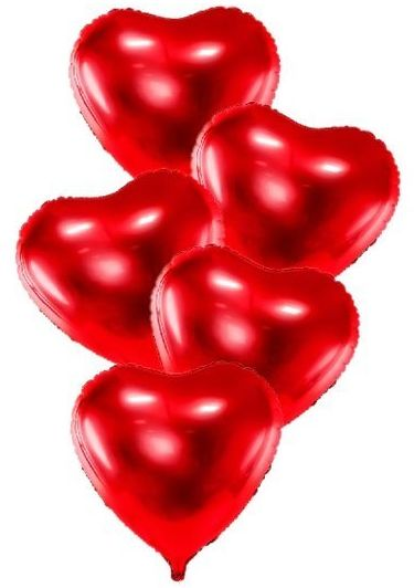 Balony foliowe Serca czerwone 45cm 5 sztuk FB9M-007-5x