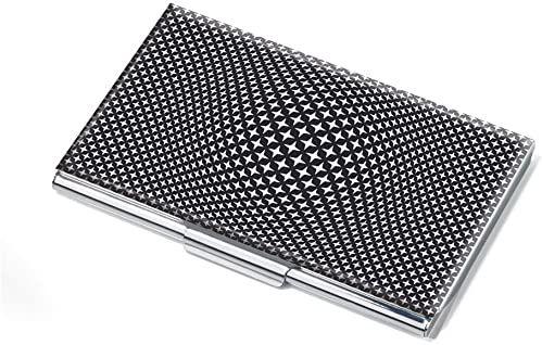 Troika Etui na wizytówki, motyw: Black VISION, płaskie, na ok. 11 kart, metal, chromowany, błyszczący, czarny/biały