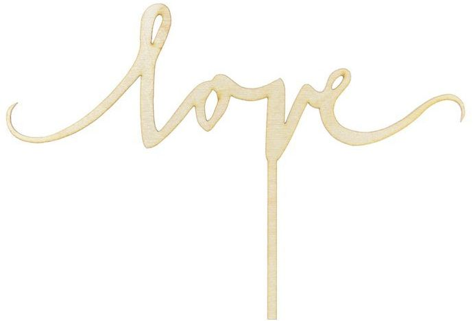 Topper drewniany na tort Love 16cm 1szt KPT50-100