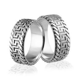 Obrączki srebrne z greckim wzorem i warkoczami - wzór Ag-319