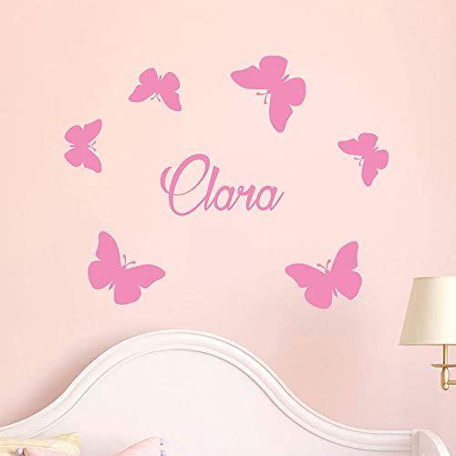 Spersonalizowane naklejki z imieniem Naklejki motyle  dekoracja ścienna do pokoju dziecięcego 2 arkusze o wymiarach 10 x 15 cm i 40 x 25 cm  różowe