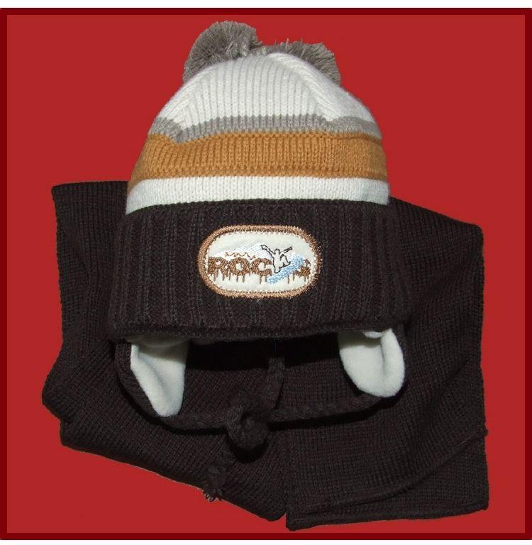 Komplet czapka z szalikiem dla chłopca 44 Alan brąz