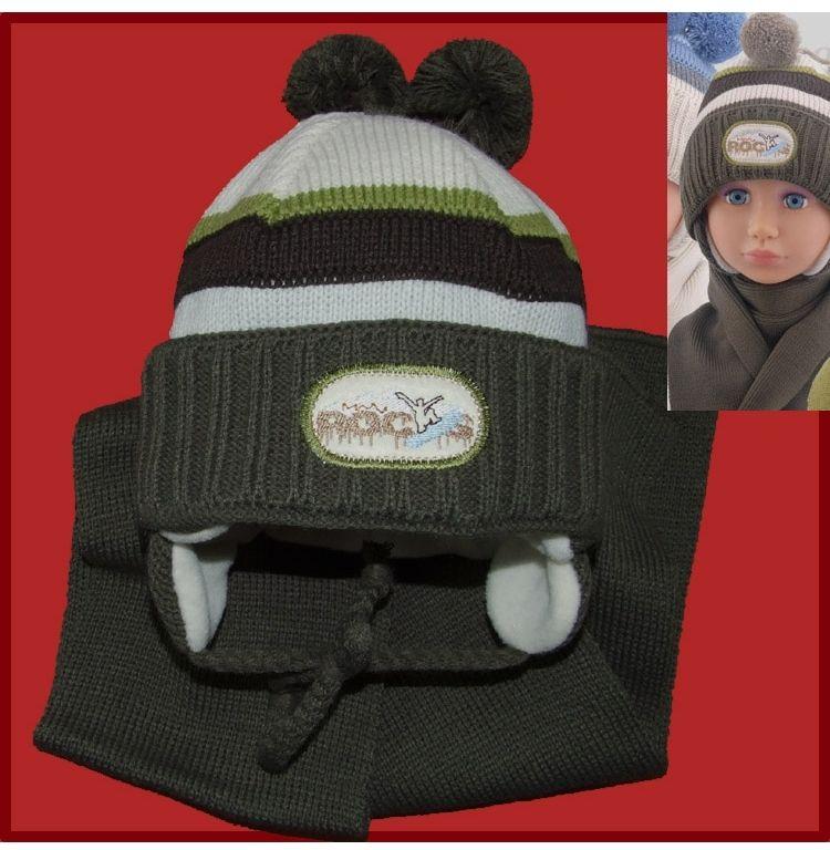 Komplet czapka i szalik dla chłopca na zimę 44 - 48 Alan