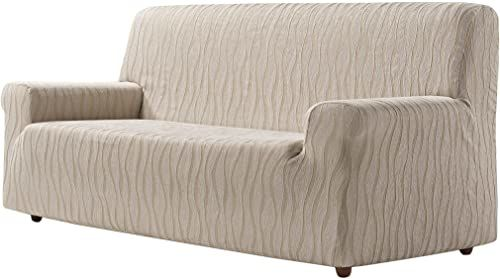 Zebra sofa tekstylna, len, 3-osobowa