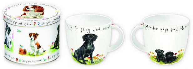 KUBEK PORCELANOWY Czarny Pies - w PUSZCE
