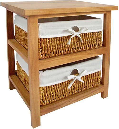 Premier Housewares Regał do przechowywania z 2 koszami kukurydzy, naturalny, 45 x 40 x 32 cm