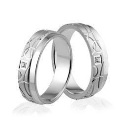 Obrączki srebrne z kamieniami i półokręgami - wzór Ag-322