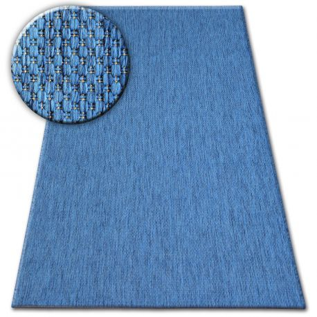 Dywan SZNURKOWY SIZAL FLAT 48663/330 niebieski GŁADKI 80x150 cm