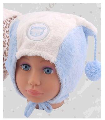 Wesoła zimowa czapka dla chłopca z pomponami 46 Antoś