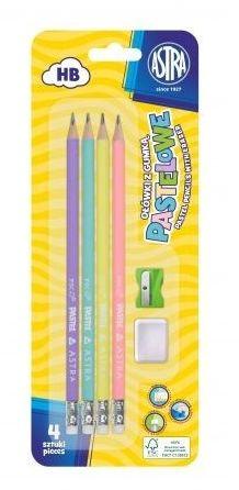 Ołówek z gumką 4 szt i temperówką pastelowe kolory Astra 206120007
