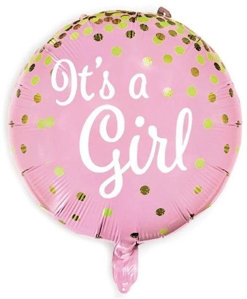 Balon foliowy It''s a girl okrągły 45cm 460149