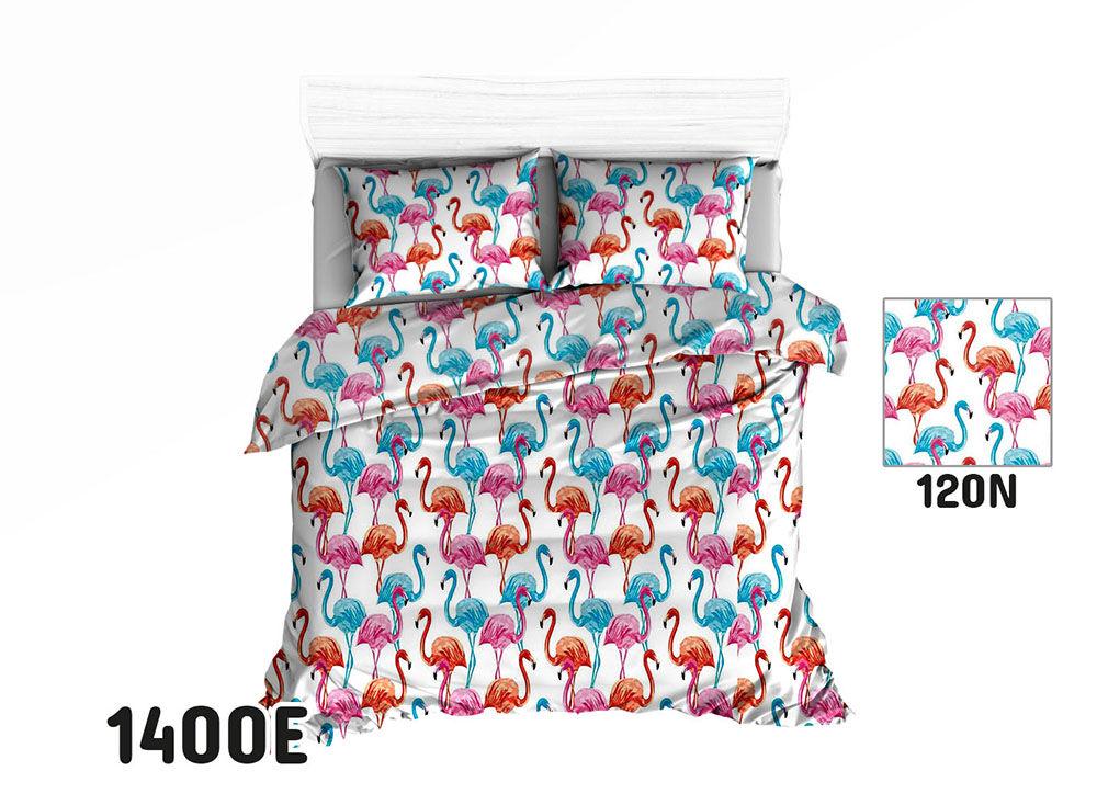 Pościel bawełniana 100x135 1400E biała flamingi kolorowe wakacyjny wzór 120N