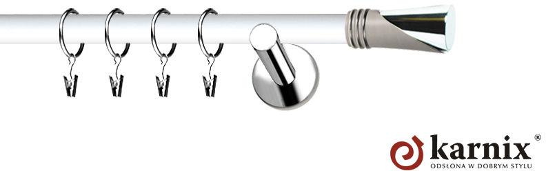 Karnisze Nowoczesne NEO Prestige pojedynczy 19mm Loca INOX - biały