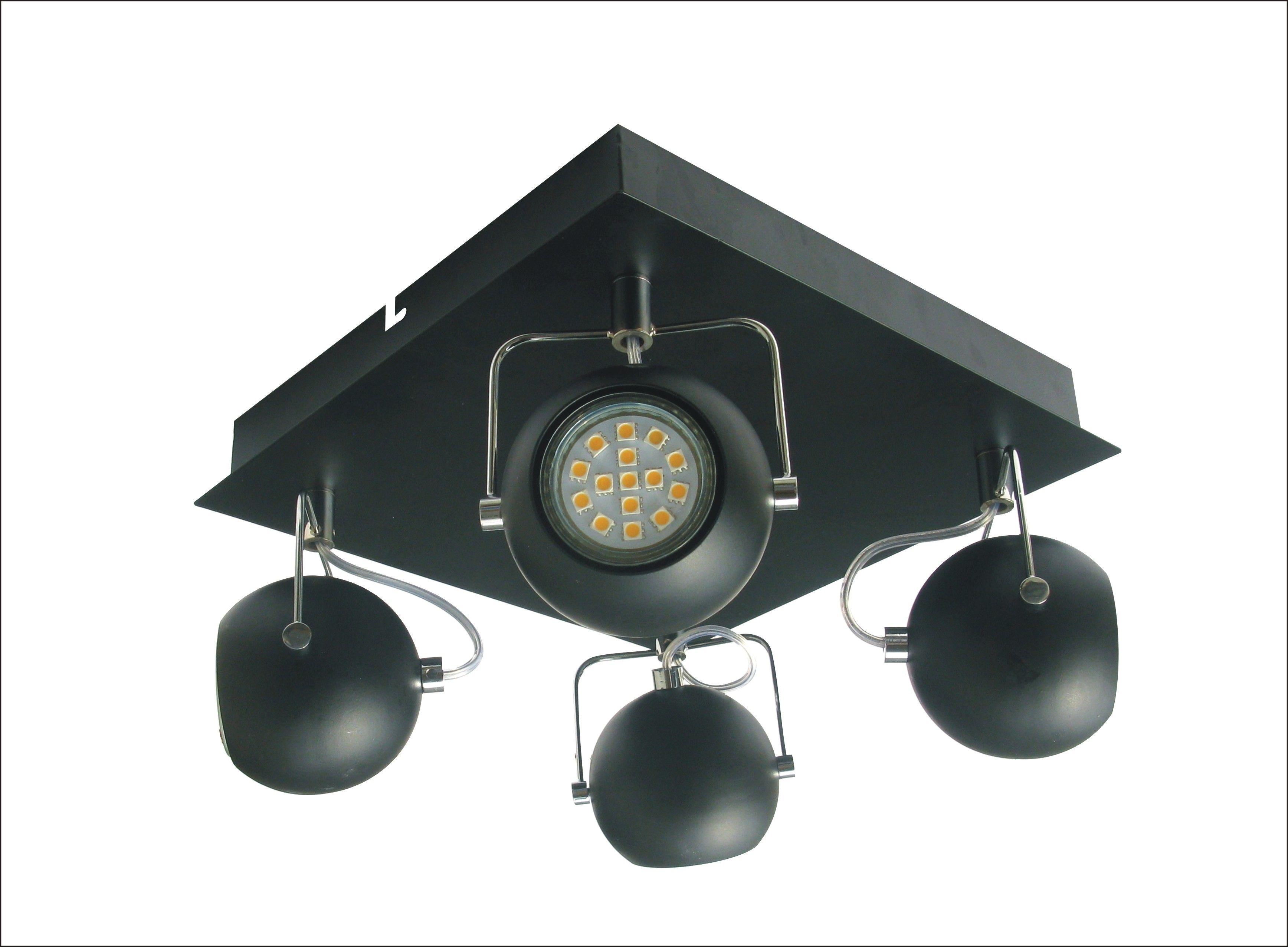 Candellux TONY 98-25036 plafon lampa sufitowa czarny mat metalowy klosz 4X3W LED GU10 43cm