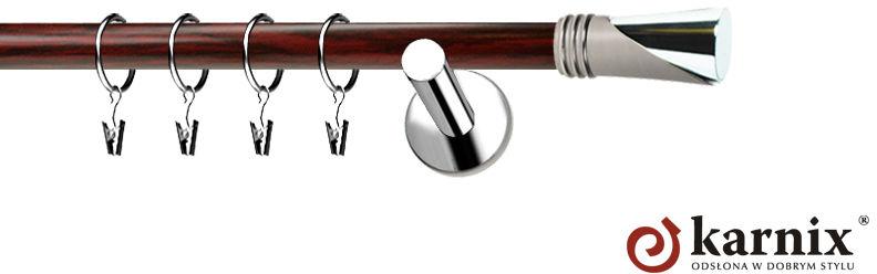 Karnisze Nowoczesne NEO Prestige pojedynczy 19mm Loca INOX - mahoń