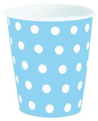 Kubeczki papierowe niebieskie w kropki 200 ml 6 sztuk 510013
