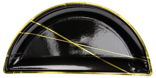Talerzyki czarne ze złotym nadrukiem 21,5 x 10,5 cm 6szt TPP66-010-019ME