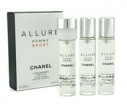Chanel Allure Homme Sport woda toaletowa (1x napełnialny + 2x napełnienie) dla mężczyzn 3 x 20 ml