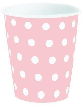 Kubeczki papierowe różowe w kropki 200 ml 6 sztuk 027023