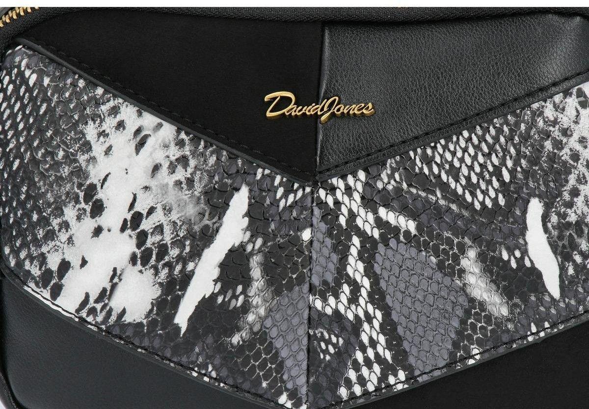 Dwukomorowe Torebki Damskie Listonoszki wzór węża David Jones Czarna (kolory)