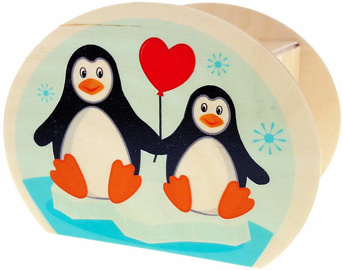 Hess drewniana zabawka 15214  skarbonka z drewna, z kluczem, pingwinami, prezent dla dzieci na urodziny, ok. 11,5 x 8,5 x 6,5 cm