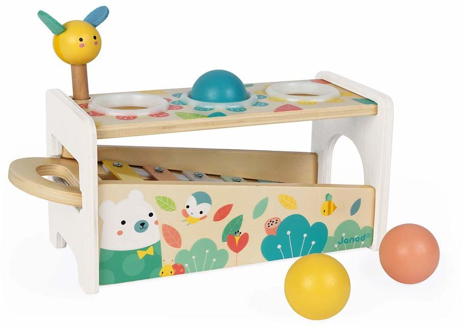 Janod Tap Tap Xylo Pure zabawka z drewna  2 w 1 ławka do kołatania Baby instrument muzyczny, zabawka motoryczna i zabawka edukacyjna  z 3 piłkami, młotem i ksylofonem  od 1 roku życia, J05155