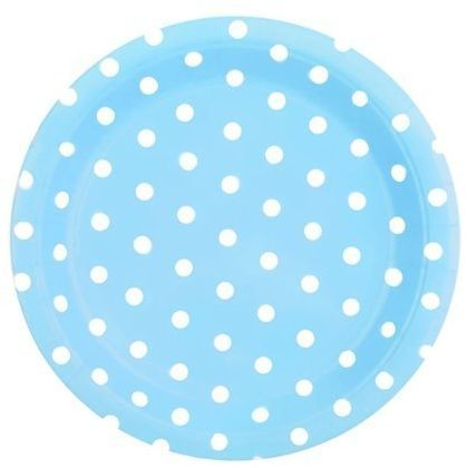 Talerzyki papierowe niebieskie w kropki 18cm 6 sztuk 027069
