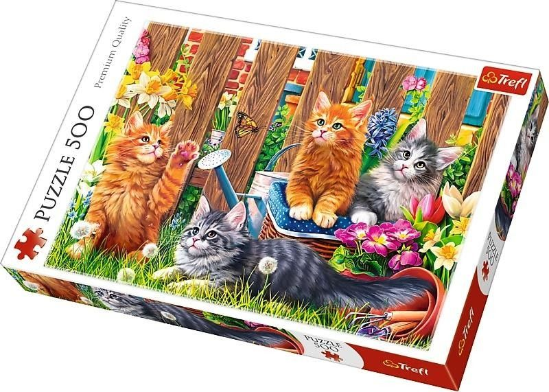 Puzzle TREFL 500 - Kotki w ogrodzie, Kittens in the garden