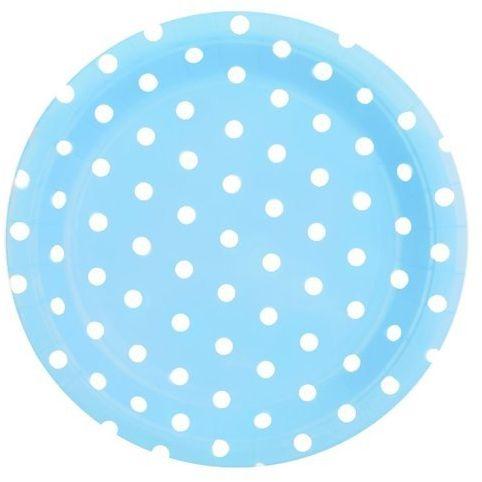 Talerzyki papierowe niebieskie w kropki 23cm 6 sztuk 027068