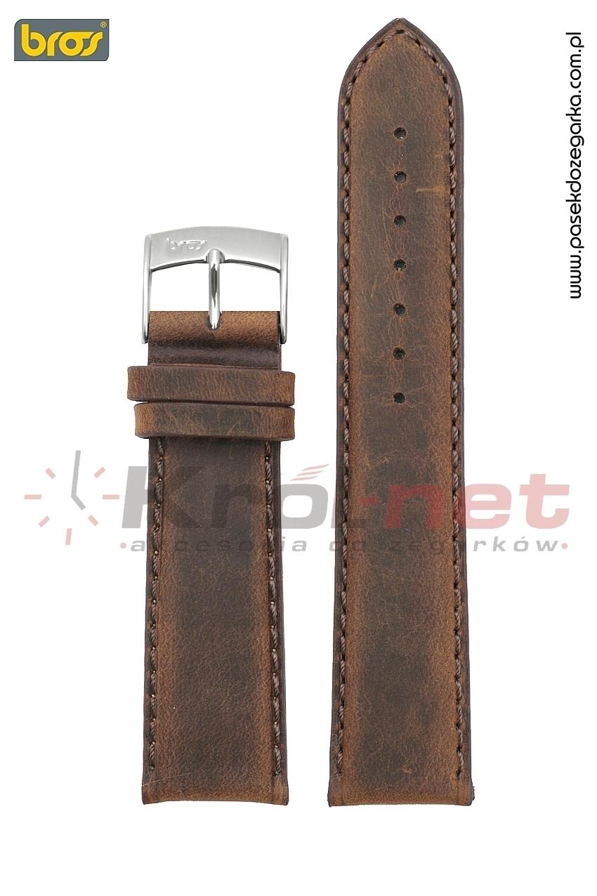 Pasek Bros 8785/24/22 - brązowy, gładki, nubuck